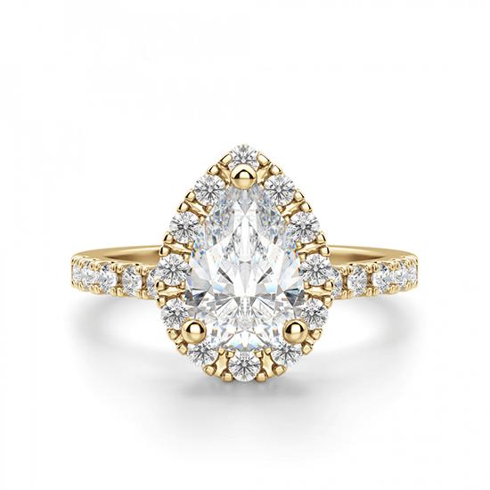 Кольцо из золота с бриллиантом груша в ореоле, Больше Изображение 1