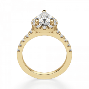 Кольцо из золота с бриллиантом груша в ореоле