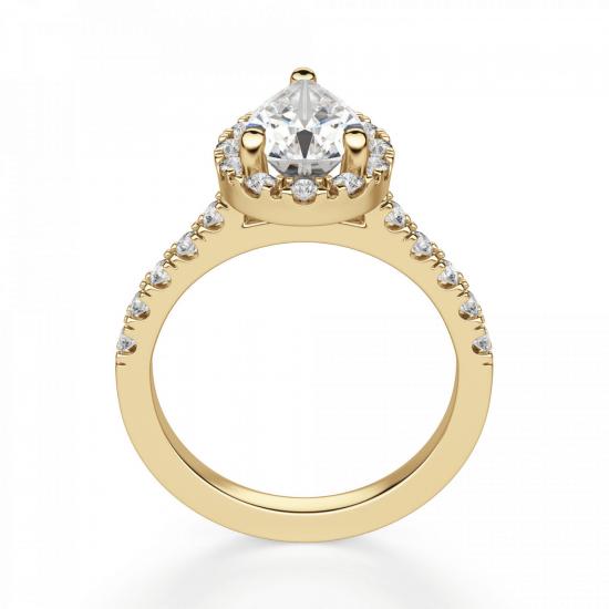 Кольцо из золота с бриллиантом груша в ореоле,  Больше Изображение 2