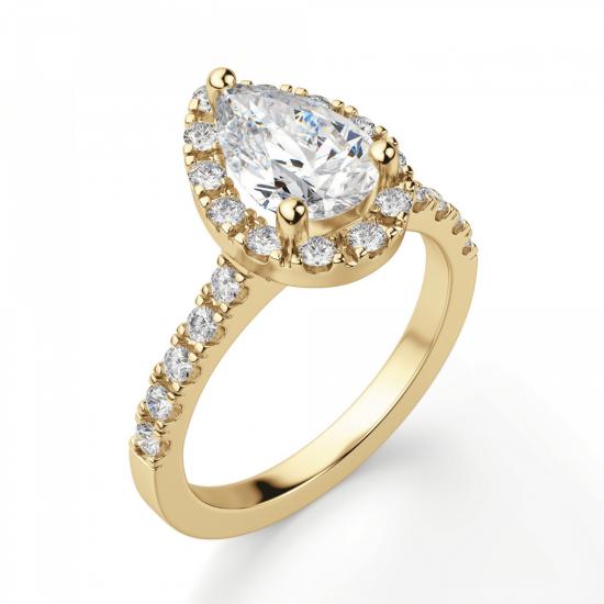 Кольцо из золота с бриллиантом груша в ореоле,  Больше Изображение 3