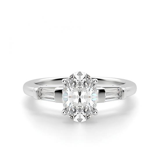 Кольцо с овальным бриллиантом и боковыми багетами, Больше Изображение 1