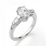Кольцо с овальным бриллиантом и боковыми багетами, Изображение 3