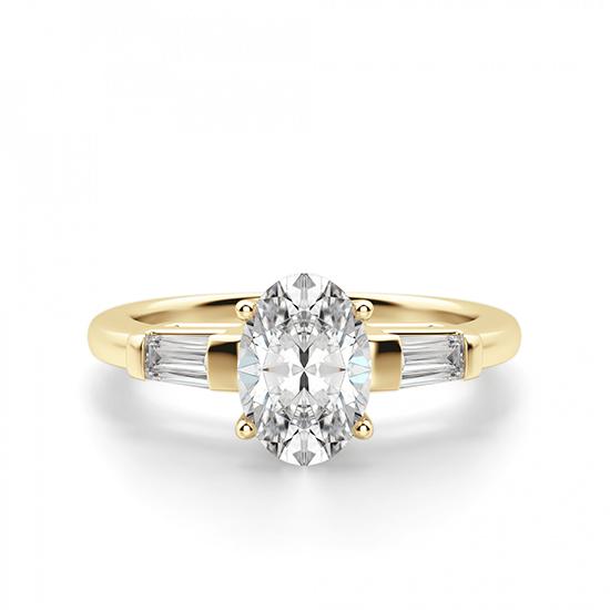Кольцо с овальным бриллиантом и дополнительными камнями, Больше Изображение 1
