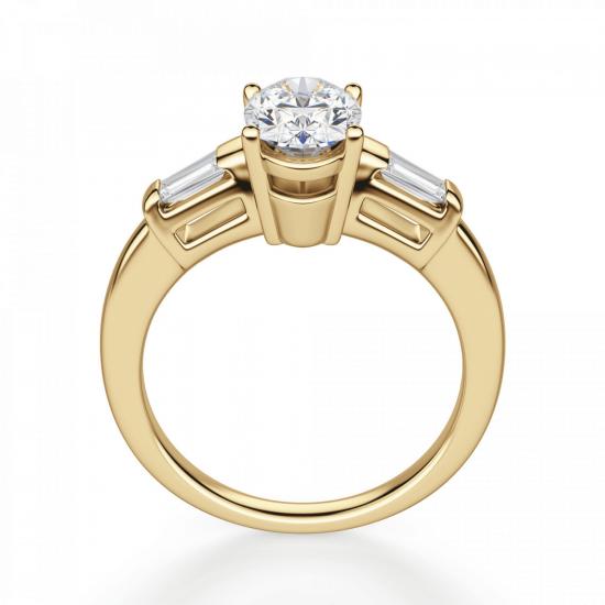 Кольцо с овальным бриллиантом и дополнительными камнями,  Больше Изображение 2