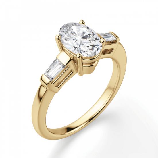 Кольцо с овальным бриллиантом и дополнительными камнями,  Больше Изображение 3