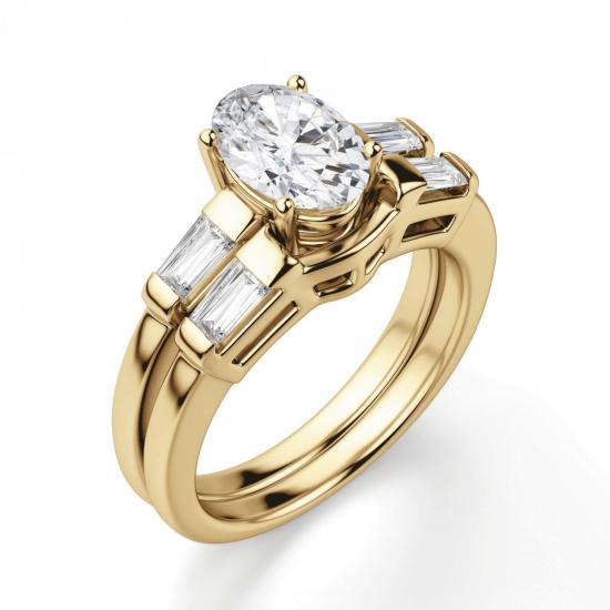 Кольцо с овальным бриллиантом и дополнительными камнями,  Больше Изображение 4