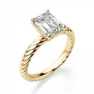 Кольцо с прямоугольным бриллиантом на плетеной шинке
