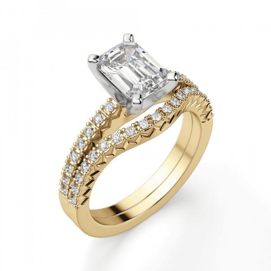 Кольцо из золота c бриллиантом эмеральд,  Больше Изображение 5