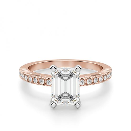Кольцо c бриллиантом эмеральд, Больше Изображение 1