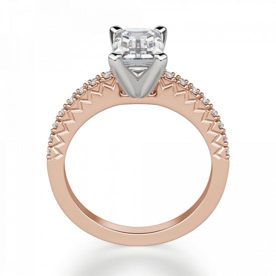 Кольцо c бриллиантом эмеральд,  Больше Изображение 2