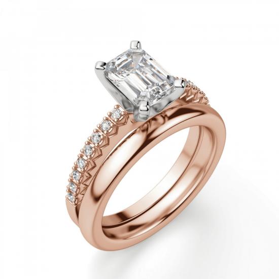 Кольцо c бриллиантом эмеральд,  Больше Изображение 4