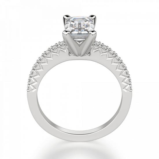 Кольцо c бриллиантом изумрудной огранки паве,  Больше Изображение 2