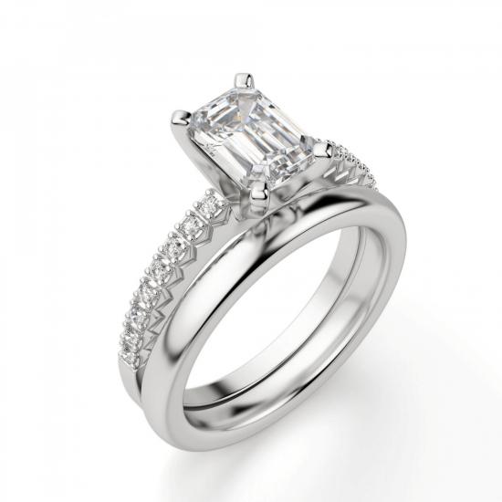 Кольцо c бриллиантом изумрудной огранки паве,  Больше Изображение 4