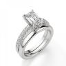 Кольцо c бриллиантом изумрудной огранки паве, Изображение 4