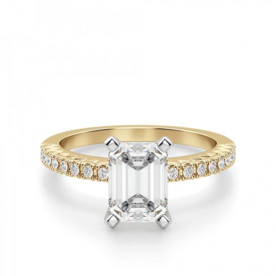 Кольцо из золота c бриллиантом эмеральд, Больше Изображение 1