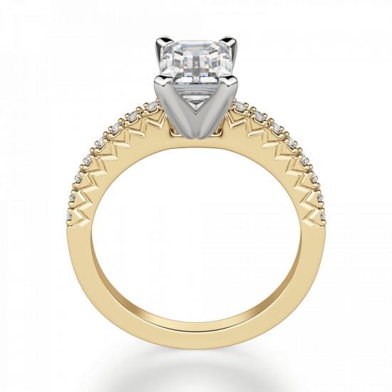 Кольцо из золота c бриллиантом эмеральд,  Больше Изображение 2