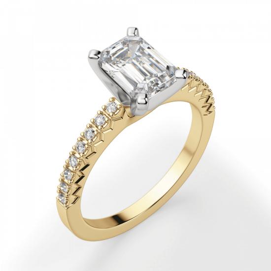 Кольцо из золота c бриллиантом эмеральд,  Больше Изображение 3