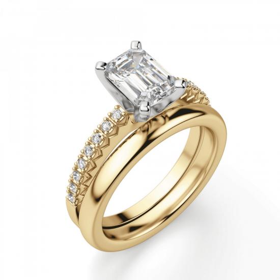 Кольцо из золота c бриллиантом эмеральд,  Больше Изображение 4