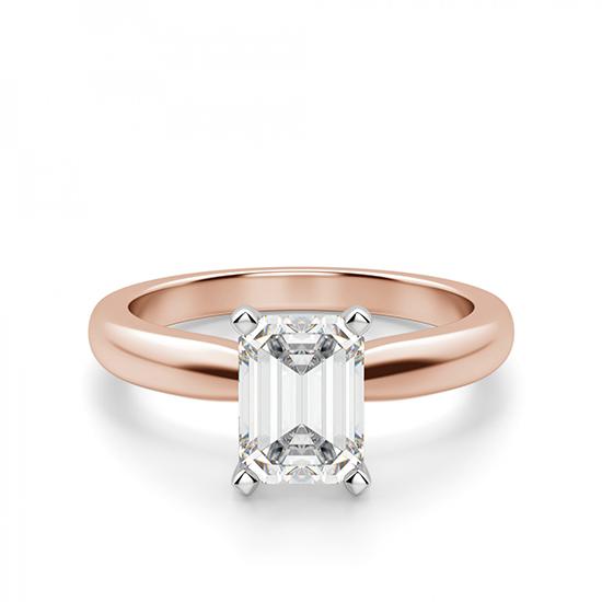 Классическое кольцо с прямоугольным бриллиантом, Больше Изображение 1