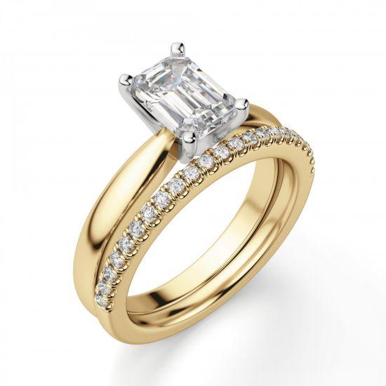 Классическое кольцо с прямоугольным бриллиантом из 2 видов золота,  Больше Изображение 2