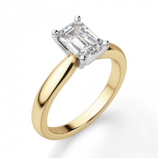 Классическое кольцо с прямоугольным бриллиантом из 2 видов золота,  Больше Изображение 4