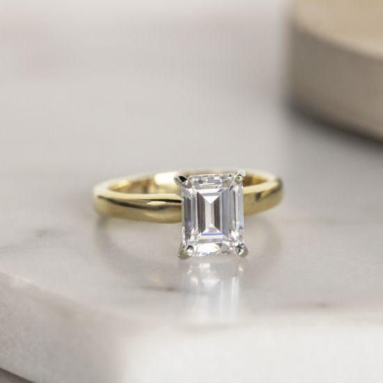Классическое кольцо с прямоугольным бриллиантом,  Больше Изображение 4