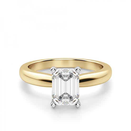Классическое кольцо с прямоугольным бриллиантом из 2 видов золота, Больше Изображение 1