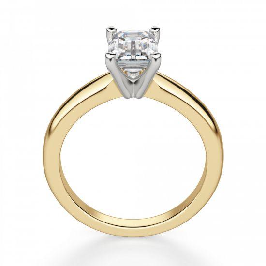 Классическое кольцо с прямоугольным бриллиантом из 2 видов золота,  Больше Изображение 3