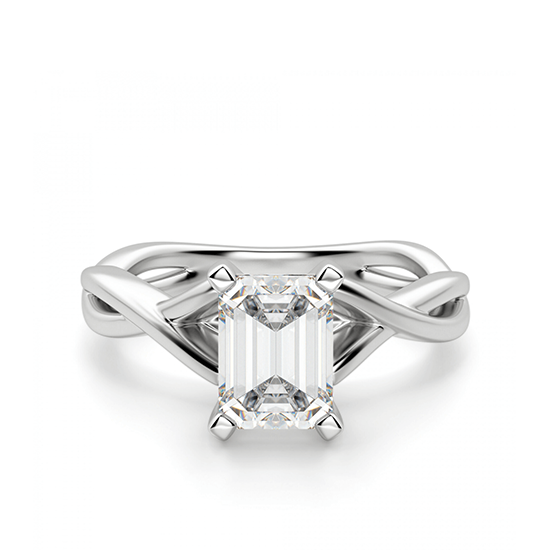 Кольцо с переплетением с бриллиантом эмеральд, Больше Изображение 1