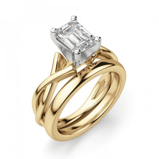 Кольцо плетеное из золота бриллиантом эмеральд,  Больше Изображение 4