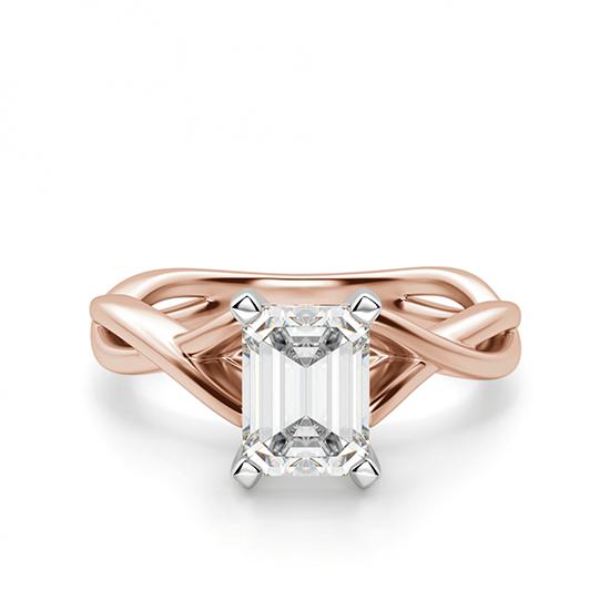 Кольцо плетеное с бриллиантом эмеральд, Больше Изображение 1