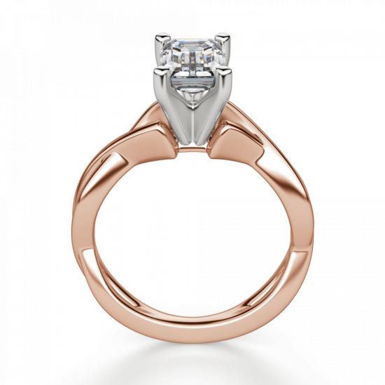Кольцо плетеное с бриллиантом эмеральд,  Больше Изображение 2