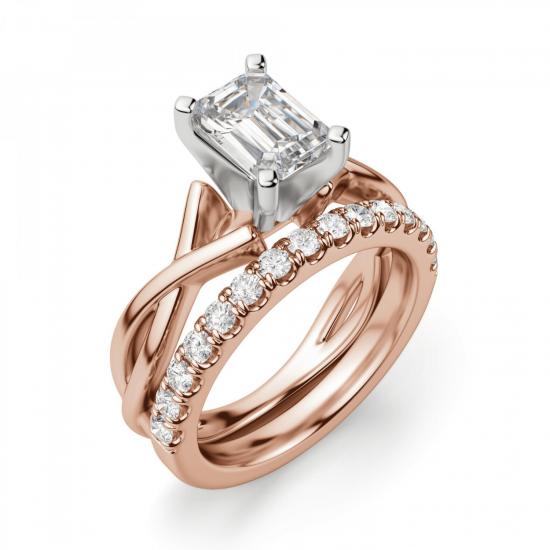 Кольцо плетеное с бриллиантом эмеральд,  Больше Изображение 6