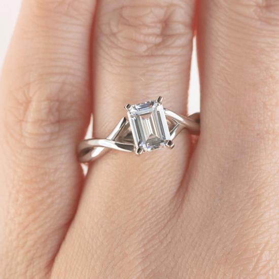Кольцо с переплетением с бриллиантом эмеральд,  Больше Изображение 7