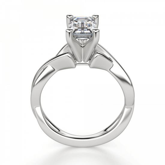 Кольцо с переплетением с бриллиантом эмеральд,  Больше Изображение 2