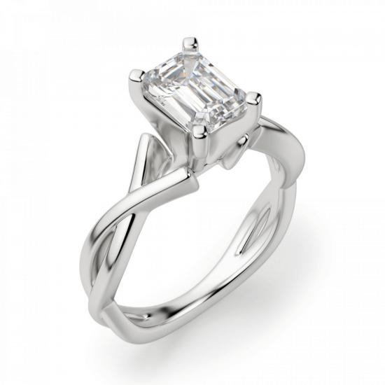 Кольцо с переплетением с бриллиантом эмеральд,  Больше Изображение 3