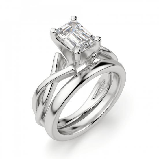Кольцо с переплетением с бриллиантом эмеральд,  Больше Изображение 4