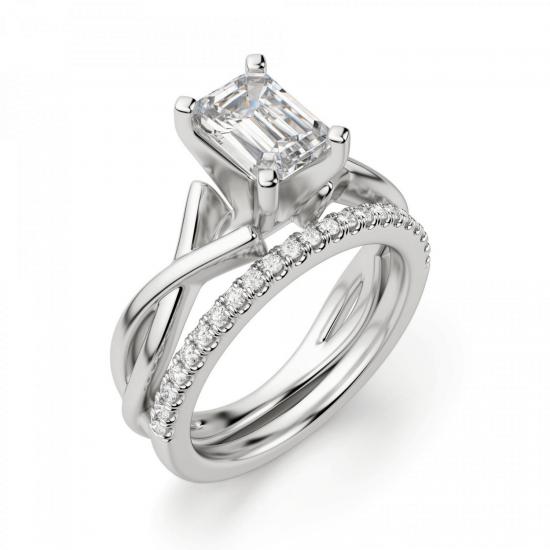 Кольцо с переплетением с бриллиантом эмеральд,  Больше Изображение 5