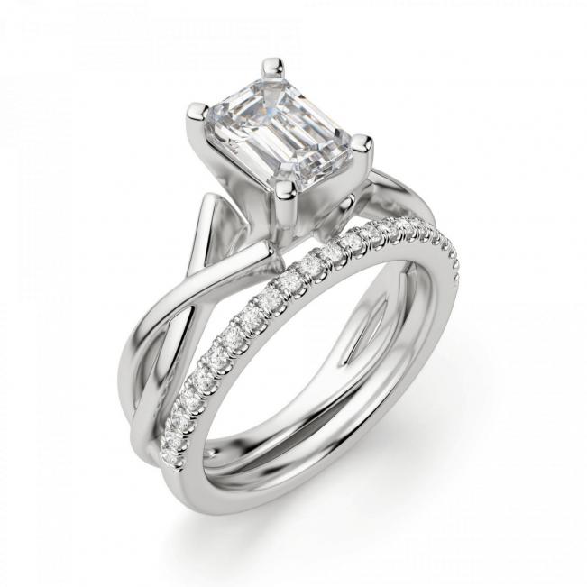 Кольцо с переплетением с бриллиантом эмеральд