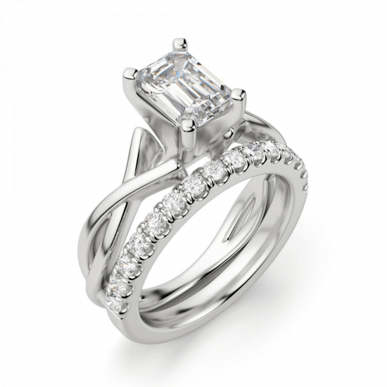 Кольцо с переплетением с бриллиантом эмеральд,  Больше Изображение 6