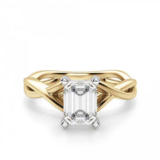 Кольцо плетеное из золота бриллиантом эмеральд, Больше Изображение 1