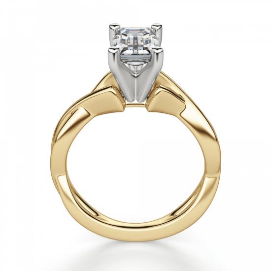 Кольцо плетеное из золота бриллиантом эмеральд,  Больше Изображение 2