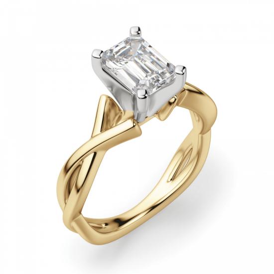 Кольцо плетеное из золота бриллиантом эмеральд,  Больше Изображение 3