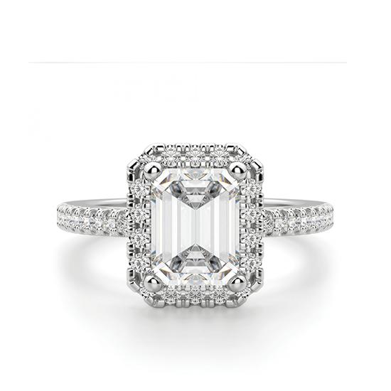 Кольцо бриллиантом эмеральд в ореоле, Больше Изображение 1