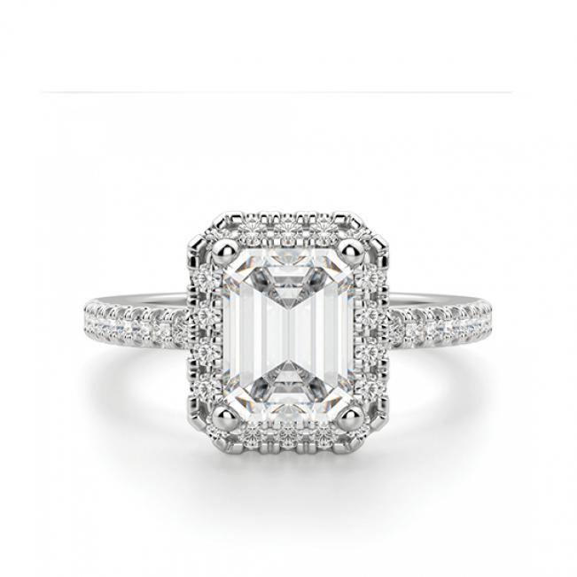 Кольцо бриллиантом эмеральд в ореоле
