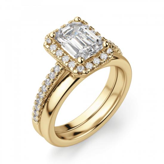Кольцо золотое бриллиантом эмеральд,  Больше Изображение 4