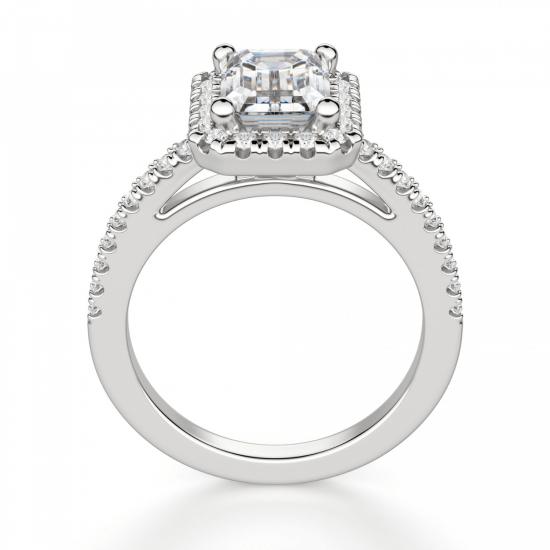 Кольцо бриллиантом эмеральд в ореоле,  Больше Изображение 2