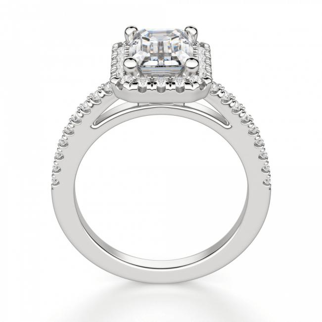 Кольцо бриллиантом эмеральд в ореоле - Фото 1