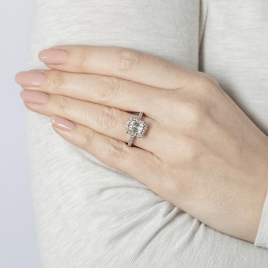Кольцо бриллиантом эмеральд в ореоле,  Больше Изображение 8