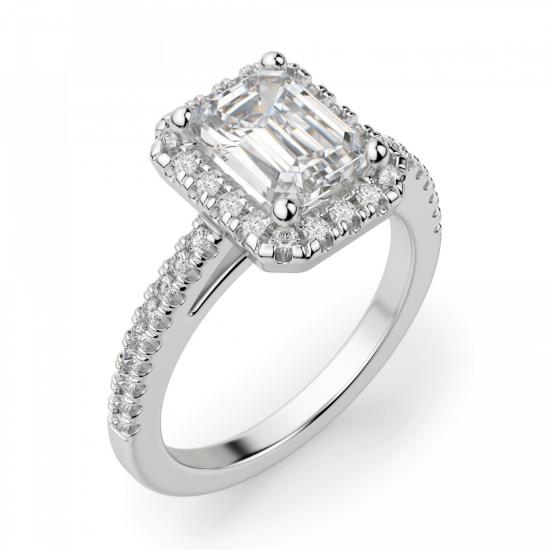 Кольцо бриллиантом эмеральд в ореоле,  Больше Изображение 3